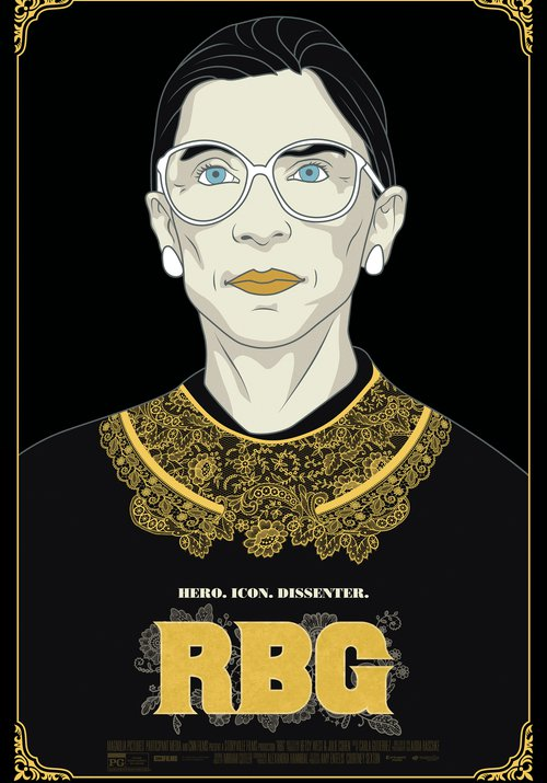 An illustrated portrait of Ruth Bader Ginsburg